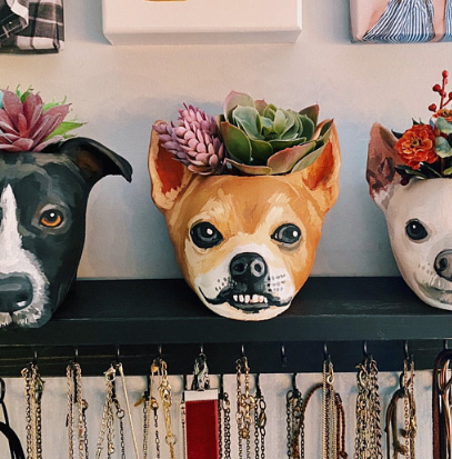 You Can Get An Adorable Custom Painted Planter Of Your Pet's Face