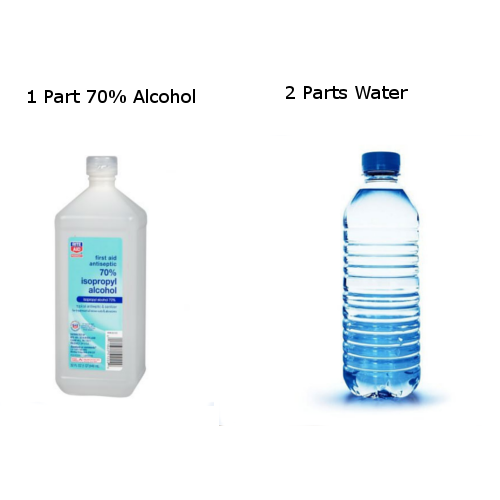 water and alcohol hand sanitizer